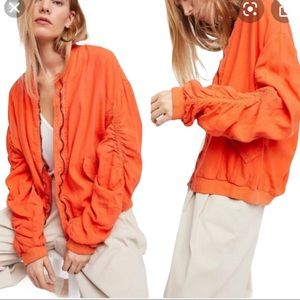 Free People Orange Linen Blend Ruched Bomber Small